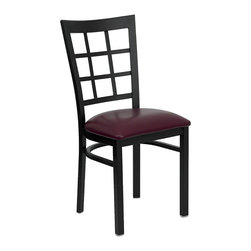 Flash Furniture - Flash Furniture Hercules Series Black Window Back Chair in Burgundy - Flash Furniture - Dining Chairs - XUDG6Q3BWINBURVGG - Provide your customers with the ultimate dining experience by offering great food, service and attractive furnishings. This heavy duty commercial metal chair is ideal for restaurants, hotels, bars, lounges, and in the home. Whether you are setting up a new facility or in need of a upgrade this attractive chair will complement any environment. This metal chair is lightweight and will make it easy to move around. For added comfort this chair is comfortably padded in vinyl upholstery. This easy to clean chair will complement any environment to fill the void in your d�cor. [XU-DG6Q3BWIN-BURV-GG]