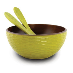 Enrico - Enrico Avocado Mango Wood Serving Bowl and Servers - Features: