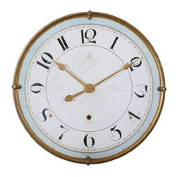 Uttermost - Uttermost Torriana 32 Round Vintage-Style Wall Clock - Antiqued gold metal frame with an antiqued ivory face and a pale blue accent around inner edge. Quartz movement.