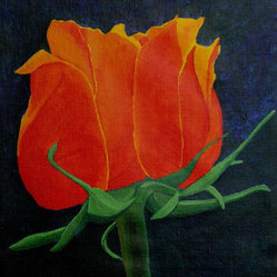 An Inner Glow - Project the idea of inner beauty and fire onto your wall with this glowing still life of a rose blossoming with light from within. This gorgeous acrylic painting on canvas comes signed by artist Anthony Dunphy.