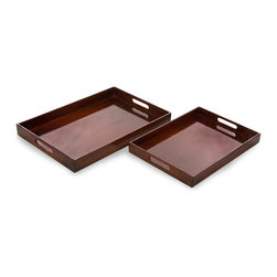 IMAX Worldwide Home - Grant Tour Calliope 2-Pc Serving Tray Set - Includes small and large trey. Made from 60% plywood and 40% lacquer. Made in Vietnam. Small: 20 in. L x 13 in. W x 1.9 in. H. Large: 24 in. L x 15.75 in. W x 2.4 in. H. Weight: 7.7 lbs.Simple yet sophisticated set.