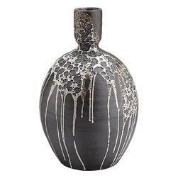 Melt Hand Thrown Vase - This hand-thrown vase by CB2 is perfect for the fall and Halloween season. I swear, it looks as if it has been kissed by a spider web.