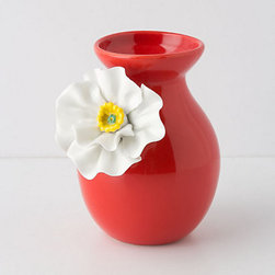 Anthropologie - White Poppy Vase - Spring isn't complete until you've cut a few fresh buds and displayed them in your home, and there's no cuter way to show them off than in this petite poppy vase. At only 6½ inches tall, it is sure to be that just-right punch of color on a windowsill, bathroom vanity or sweet little shelf.