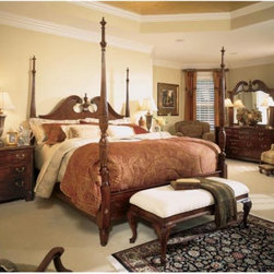 American Drew - Cherry Grove Poster Bed Multicolor - 791-378R - Shop for Beds from Hayneedle.com! The Cherry Grove Poster Bed looks like it has always been a part of your family and from now on it will be. Georgian Edwardian Sheraton and Queen Anne influences are evident in this traditional poster bed which features dramatic lines and decorative carvings for Old World charm. Crafted from cherry veneers alder solids and select hardwoods this poster bed features a rich cherry finish for a warm and inviting ambiance. The headboard contains a split pediment design while four ornate fluted posts complement the luxurious look.Queen: 65L x 4W x 88H inchesKing/California King: 79L x 4W x 88H inchesAbout Lea IndustriesLea Industries is a leading manufacturer of youth furniture. The Elation Collection is a perfect example of the craftsmanship and style Lea is dedicated to preserving. Featuring clean lines and subtle design elements Lea is a fashionable option for girls and boys alike. Each piece is crafted from fine hardwoods veneers wood products and simulated wood to ensure both durability and quality furniture that will stand up to the wear and tear of youth use.