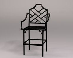 Chinese Chippendale Counter Stool With Arms - Counter stools with arms are hard to find, and this Chinese Chippendale version is a knockout.