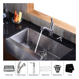 Kraus - Kraus 36 inch Farmhouse Single Bowl Stainless Steel Kitchen Sink with Kitchen Fa - *Add an elegant touch to your kitchen with unique Kraus kitchen combo
