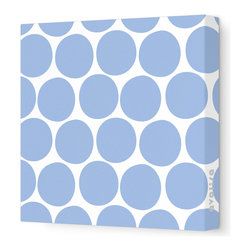 """Avalisa - Pattern - Dots Stretched Wall Art, 28"""" x 28"""", Blue - What is it about polka dots? They're just circles, but en masse they make even the worst day a little better. Add some instant cheer to your wall with these dots in eye-popping colors. Each comes in your choice of sizes — or hang several together for some oom-pah-licious fun."""