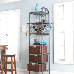 Southern Enterprises - Genevieve Kitchen Storage Tower with Wine Rac - Includes 3 glass hanging racks and 1 wine bottle rack which accommodates 8 bottles. Includes 2 extended hanging bars and 4 S-shaped hanging hooks. Includes 3 removable storage baskets and 1 open shelf. Black finish with espresso baskets. Constructed of square metal tube, MDF, and ash veneer. Assembly required. Max weight capacity: 25lbs (each shelf), 20lbs (each basket). 27 in. W x 18.25 in. D x 81.5 in. H. Glass hanging racks: 4.5 in. W x 14.5 in. D x 9.5 in. H. Bottle rack openings: 4 in. W x 4 in. D (rack grates are 6 in. apart). Basket: 15 in. W x 16 in. D x 8 in. H (interior), with 3.5 in. W x 1.25 in. H handle opening. Open shelf: 27 in. W x 18.25 in. D x 14 in. H. Space beneath unit: 27 in. W x 18.25 in. D x 4 in. H This kitchen tower is the answer to not only storage dilemmas, but eye-catching displays as well. Its clean, rounded styling makes it a great choice for any kitchen. The kitchen tower features three glass hanging racks for display and convenient access. The tower also features a wine bottle rack that accommodates up to eight bottles of wine for celebrating in the moment. Other great storage elements include three removable baskets, an open shelf, and two hanging bars with S-shaped hooks for displaying and storing pots etc. Durable construction and beautiful design make this a great addition to any home with traditional or transitional decor. Use this tower in the kitchen or breakfast nook to make the most of your space.