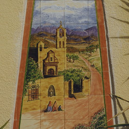 Mexican Mural - This scene was cut to fit an existing recessed arch on the outside on a customers house. I used 6 inch tiles, all hand painted and kiln fired them.