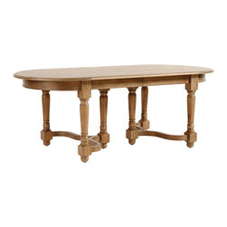"""Ballard Designs - Capistrano Extension Dining Table - Pair with our best-selling Capistrano Dining Side Chairs. Table seats 6 comfortably, based on 20"""" wide dining chair. 1-Leaf option extends to 102"""" and seats 8 comfortably.. 2-Leaf option extends to 120"""" and seats 10 comfortably, based on 20"""" wide dining chair. Hand crafted. Our Capistrano Dining Table has """"family heirloom"""" written in every graceful curve. Turned triple legs with lyre stretchers support a 84"""" long generous oval top that extends with one or two leaf option to serve a hungry crowd.Capistrano Dining Table features: . .  . . Limed Oak finish. Hardwood & fine veneers."""