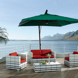 Inca Outdoor Sofa Set - Beautiful chic patio sofa set with matching glass top coffee table. Durable all weather construction ensures years of enjoyment.