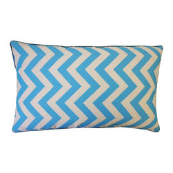 """Jiti Pillows - Zig Zag Cotton Pillow - Features: -Material: 100% Cotton. -Dry clean only. -Piping edge. -Removable cover. -95% Feather, 5% Down insert. -Use for indoor. -Made in the USA. Dimensions: -12"""" H x 20"""" W, 2 lbs."""
