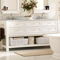 """Classic Double Sink Console, White with Chrome finish - Designed with the same quality and detail that distinguishes all of our furniture collections, the Classic Double-Sink Console is expertly crafted with a solid hardwood frame and topped with a thick slab of Carrara marble. 72"""" wide x 24.5"""" deep x 40"""" high Expertly crafted solid hardwood frame. Top is made of 3/4""""-thick Carrara marble, known around the world for its exceptional quality and natural beauty. Console is fitted with white porcelain sinks (included). Zinc alloy hardware with a Chrome finish. Additional hardware available for purchase in Antique Bronze, Polished Nickel or Satin Nickel. See available console and fixture finishes below. Use with any of our faucet collections (sold separately). Professional installation required. {{link path='pages/popups/sink_cds_dbl_popup.html' class='popup' width='720' height='800'}}Learn more{{/link}} about how to install this sink console. View our {{link path='pages/popups/fb-bath.html' class='popup' width='480' height='300'}}Furniture Brochure{{/link}}. Catalog / Internet Only."""