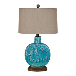 "Lamps Plus - Coastal Crestview Collection Deep Ocean Table Lamp - Deep Ocean coastal table lamp. Antique turquoise finish. Ceramic and cast resin construction. Burlap shade. Maximum 100 watt or equivalent bulb (not included). On/off rotary switch. 25"" high. Base is 15"" high. Shade is 14"" wide and 9"" deep across the top 15"" wide and 9"" deep across the bottom 9"" on the slant. Base is 7 1/2"" by 5"".       Deep Ocean coastal table lamp.  Antique turquoise finish.  Ceramic and cast resin construction.  Burlap shade.  Maximum 100 watt or equivalent bulb (not included).  On/off rotary switch.  25"" high.  Base is 15"" high.  Shade is 14"" wide and 9"" deep across the top 15"" wide and 9"" deep across the bottom 9"" on the slant.  Base is 7 1/2"" by 5""."