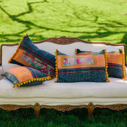 Limited Edition Vintage Hmong Hand-Cross-Stitch Pillow - I love these vibrant pillows made with vintage Hmong fabrics. They're perfect for creating a cozy and inviting outdoor space.