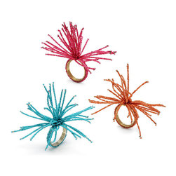 Frontgate - Set of Four Kim Seybert Spider Napkin Rings - Sold as a set of four. Available in seven bright colors. These whimsical Beaded Burst Spider Napkin Rings from Kim Seybert add flair to your table and are perfect for any festive summer celebration. It's an easy way to add color and whimsy to your outdoor party.. . Imported.