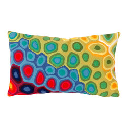 "Multicolor Pop Swirl Print 12"" X 20"" Throw Pillow - This wonderful indoor / outdoor decorative throw pillow looks great in living rooms or patios or wherever you want a dash of color. Made of 100% polyester microfiber. The cover has a zipper closure so you can take out the fiberfill inner pillow for hand-washing if you need to. The pillow measures 12 inches by 20 inches."