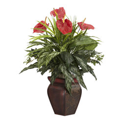 Nearly Natural - Mixed Greens & Anthurium with Decorative Vase Silk Plant - For any sharp-eyed plant lover, the first thing that is bound to be noticed is the sheer amount of variety of texture and color found in this piece. This silk plant is a veritable cornucopia of greenery, neatly complimented by the vibrant red plumage on top. This plant is the right choice for anyone who likes to make a statement without saying a single word. Arrives with an elegant vase for that added touch of class.