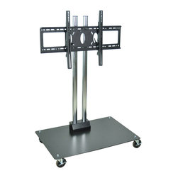 "Luxor - H Wilson Flat Panel Cart - WPSM, 50""h - Holds 37"" to 60"" Flat Panel TV's. 50"" Height. Two heavy duty chrome steel tubes with black powder coated base. Engineered for safety. The heavy duty base plate 27"" x 23 1/2"" footprint prevents tipping and the 49 Lbs. of counter weight provides the proper center of gravity."