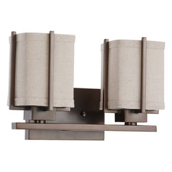 Hazel Bronze Energy Star 2 Light Vanity Bath Wall With Khaki Fabric Shade - Condition: New - in box