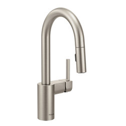 Moen - Moen 5965SRS Align Spot Resist Stainless One-Handle High Arc Pulldown Bar Faucet - Moen 5965SRS Align Spot Resist Stainless one handle High Arc Pulldown Bar Faucet. From Classic home kitchens to large elegant workstations, Align Faucets add a modern and functional look to your cooking area. Subtle lines create a contemporary style, while the pull down/out wand adds functionality. Additional feature for this Faucet include a Spot Resist stainless finish resists fingerprints and water spots for a cleaner looking kitchen, a limited lifetime warranty, and its equipped with the Reflex system for smooth operation, easy movement and secure docking of the pull down/pullout spray head. Great for everyday light work, and those days when heavy-duty cleanups are necessary also.