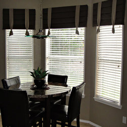 Cornice boards with ties - Pleated cornice boards with ties furnished and installed by Kite's Interiors.
