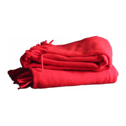Red Wool Blanket - Bold, preppy red wool blanket. In excellent vintage condition with no stains, tears or smells.