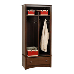 Prepac Furniture - Prepac Hall Tree Organizer in Espresso - The Hall Tree Organizer in Espresso by Prepac Furniture is the perfect solution where there is a need for storage. The top shelf is divided and perfect for organizing school supplies, hats or shoes. Constructed from high quality laminated composite woods. Two divided hanging areas provide a wonderful solution for organizing jackets, coats and sweaters and the single drawer makes for great hide-away storage for gloves, socks, hats or scarves.