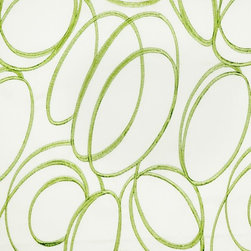 Green Embroidered Geometrical Cotton Fabrics -