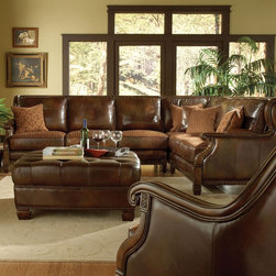 AICO Furniture - Windsor Court Leather 2 Piece Sectional Sofa with Left Arm Faci - Set includes left arm facing sofa and right arm facing corner loveseat