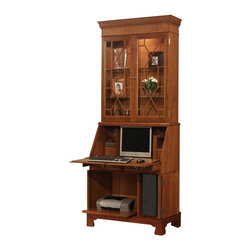 Jasper Cabinets - Computer Secretary Desk with Hutch (Ancestor) - Finish: AncestorA multipurpose wonder. This traditionally-inspired Jamestown desk & hutch give you plenty of display & storage space anywhere in your home. Hutch has 2 glass doors and beautiful beveled edges. Lower cabinet holds all sorts of high tech equipment with spacious interior. Choice of finish. Signature drop lid slide mechanism and lid lock. Pigeon holes and additional storage behind drop lid. Four solid wood drawers with interlocking drawer runner. Interior light in upper section. Two adjustable glass shelves with plate grooves. Adjustable floor levelers. Made from Cherry and Maple solids. Assembly required. 36 in. W x 20 in. L x 89 in. H (250 lbs.)I'm sure you've all seen the magnificent secretary that graces the homes of friends and families. Some have been handed down through generations, some are new, but still are rich with history. With it's many features this beautiful Secretary is a must for your home. Finished in a Colonial Cherry is what makes this a magnificent piece you can't walk away from.