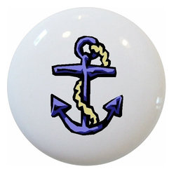 Carolina Hardware and Decor, LLC - Blue Anchor Nautical Ceramic Knob - New 1 1/2 inch ceramic cabinet, drawer, or furniture knob with mounting hardware included. Also works great in a bathroom or on bi-fold closet doors (may require longer screws). Item can be wiped clean with a soft damp cloth. Great addition and nice finishing touch to any room! Made in China.