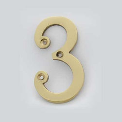Cool House Numbers Solid Brass 4 Inch (100mm) Door Number 3 #2273 - SOLID BRASS 4 INCH (100MM) DOOR NUMBER 3 #2273