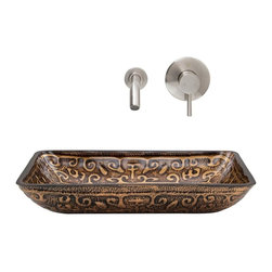 Vigo Industries - Rectangular Glass Vessel Sink with Faucet - Includes pop up drain, mounting ring, all mounting hardware and hot/cold waterlines