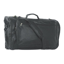 "Mercury Luggage - Simulated Leather Tri-Fold Garment Bag - Garment bag with main compartment and double zippered ""U"" shaped opening. Front zippered pouch with exterior front zippered pocket and rear zippered pocket. Reinforced handle with detachable adjustable shoulder strap with no slip pad. Two parachute clasps for secure closing. 45 in. L x 3 in. W x 22 in. H"