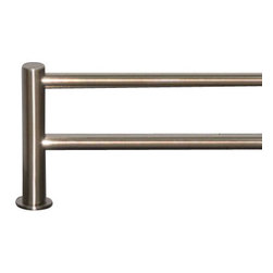 "Top Knobs - Hopewell Bath 24"" Double Towel Rod - Brushed Satin Nickel - Length - 25 1/2"", Projection - 5 7/8"", Center to Center - 24"", Bar Stock Diameter - 5/8"", Base Diameter - 1 1/2"" w (x) 1 1/2"" h"
