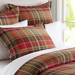 "Tahoe Plaid Duvet Cover - I adore a great plaid pattern during the holiday season — it's so warm and cozy! And this bedding set is all the more appealing because it's called the ""Tahoe"" plaid duvet cover, which is so appropriate."