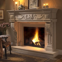Balmoral Stone Fireplace Mantel - The Balmoral Majestic Stone fireplace mantel surround is created using a beautiful composite stone mantel material. Each mantel has variations in color and texture that captures the true essence of natural stone. You may order this mantel in a standard or custom size.  - Mantels Direct