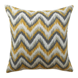 Yellow And Gray Chevron Ikat Decorative Pillow Cover - One decorative pillow cover made to fit a size 18x18 pillow insert. Designer yellow and gray ikat chevron fabric by Nate Berkus. The same pattern will be featured on both the front and back of the cover with a concealed zipper closure. Pillow insert is not included.