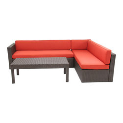 "Jeco - 3pc Wicker Conversation Sectional Set  -  Red Cushions - ""Outstanding comfort, structural integrity, and modular versatility make our Wicker Conversation Sectional Set a welcome addition outdoors. Multifaceted, espresso resin wicker is smoothly wrapped around concealed extra durable steel frame. Gently angled backs and wide arms encourage restful lounging. Includes a generous coffee table for your drinks and desserts. The industry's best high-performing fabrics encase the 4"""" thick, wrapped polyester foam cushions."