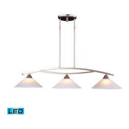 Elk Lighting - EL-6502/3-LED Elysburg LED 3-Light Island Light in Tea Swirl Glass - The geometric lines of this collection offer harmonious symmetry with a sophisticated contemporary appeal. A perfect complement for kitchens, billiard parlors, or any area that requires direct lighting. Featured in satin nickel with white marbleized glass or aged bronze finish with tea stained brown swirl glass. - LED, 800 lumens (2400 lumens total) with full scale dimming range, 60 watt (180 watt total)equivalent, 120V replaceable LED bulb included.