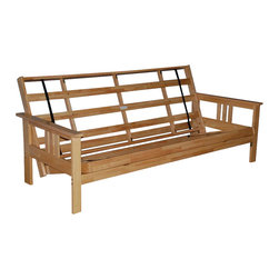 Kodiak - Monterey Futon Frame in Natural Hard Wood Finish - Sit, lounge or sleep on the multi functional Futon. This unique and versatile Full Size Futon Sofa easily converts to a Full Size Bed.
