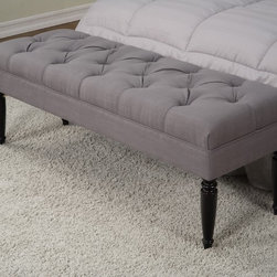 None - Claudia Diamond Wale Grey Tufted Bench - A comfy bench in a hallway or at the end of your bed can be the perfect accent to any room's decor. This grey bench will also add a sense of functionality to your life,giving you extra places to sit when you are relaxing or getting ready for the day.