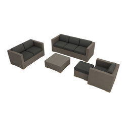 Harmonia Living - Element 5 Piece Modern Sling Sofa Set, Canvas Charcoal Cushions - Entertain in style and comfort with the Harmonia Living Element 5 Piece Outdoor Sling Sofa Set with Gray Sunbrella Cushions (SKU HL-ELE-TP-5SS-CC). It makes a practical choice for those who love to show their guests a good time with comfortable, stylish outdoor environments. The aluminum frame gives a sturdy foundation for the beautiful Taupe sling fabric, which is designed to be quick-drying and UV resistant so your new patio furniture continues to look spectacular even with regular sun exposure. Brushed aluminum feet sets this set apart from others, while elevating the furniture so you can easily rearrange it in any configuration that suits you and your outdoor space.
