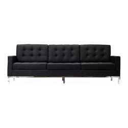 Florence Style Black Leather Loft Sofa - The Loft Sofa offers a stunning and luxurious look that will instantly enhance any space. This mid-20th century modern leather sofa is inspired by the designs of Florence Knoll 1954 lounge collection, and has a recognizable mid-century modern style.The simple style of the Loft Sofa in leather upholstery makes for a clean, sharp look. Tufted accents create a beautiful pattern, and the couch's low profile makes the loft sofa an ideal item small space. Features a polished stainless steel frame, and high quality.This item is a high quality reproduction of the original. The Loft modern sofa is the preferred choice for reception areas, living rooms, hotels, resorts, restaurants and other lounge spaces.