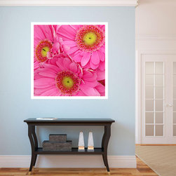 """Pink Gerber Daisies Art Print - """"Pink Gerber Daisies"""" digital art print will be a make a dynamic statement in any room.  The brilliant warm colors will blend in with the cooler tones of your room and provide a welcome pop of color against cooler tones."""