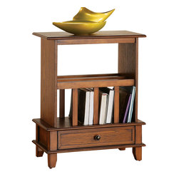 Steve Silver - Jordan Chairside End Table Oak - This Jordan End Table comes in cherry or oak and is a perfect addition for a bedside area or living room. It features storage for books, magazines, or even a laptop computer. The piece maintains an air of simple functional elegance for any room.