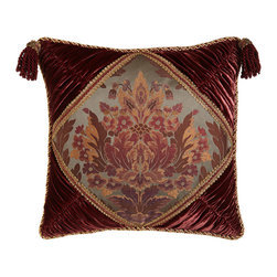 "Sweet Dreams - Ruched Velvet Pillow with Floral Center 20""Sq. - MERLOT/CHARCOAL - Sweet DreamsRuched Velvet Pillow with Floral Center 20""Sq.Designer About Sweet Dreams:In 1986 Denise Sansing launched Sweet Dreams a collection of intricately designed and elegant bedding and accessories. Sansing whose design studio is located in Texas focuses on heirloom-quality linens drawing inspiration for her Sweet Dreams line from antique European textiles."