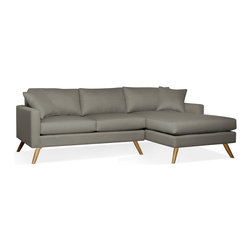 "True Modern - Dane Sofa with Chaise, Ivory - ""Chaise"" into something a little more comfortable with this sofa. It has a slightly smaller scale making it a good fit if you live in a condo or apartment - or want to place it in your den."