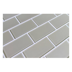 """Rocky Point Tile - Sheep's Wool 3""""x6"""" Glass Subway Tiles, 3"""" X 6"""" Sample - A trendy light beige perfect for kitchens and bathrooms. It looks great on it's own or it can be combined with our Manhattan Taupe, Beach Brown, or Seaside glass tiles. Our subway tiles are loose packed giving customers the option to install them in the pattern of their choice. Lay them in a grid or subway pattern, or get creative and try a herringbone pattern or basket weave! Use 1/8"""" spacers and the grout lines will always line up!"""